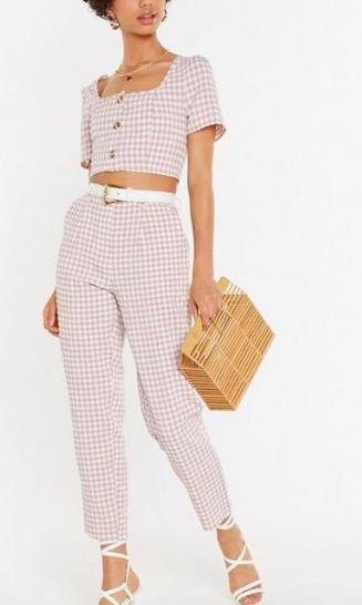 Nasty Gal Square Up Gingham Pants
