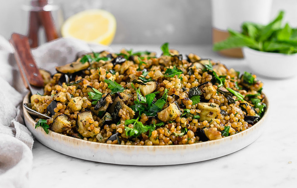 Herby Eggplant Israeli Couscous Truffles And Trends