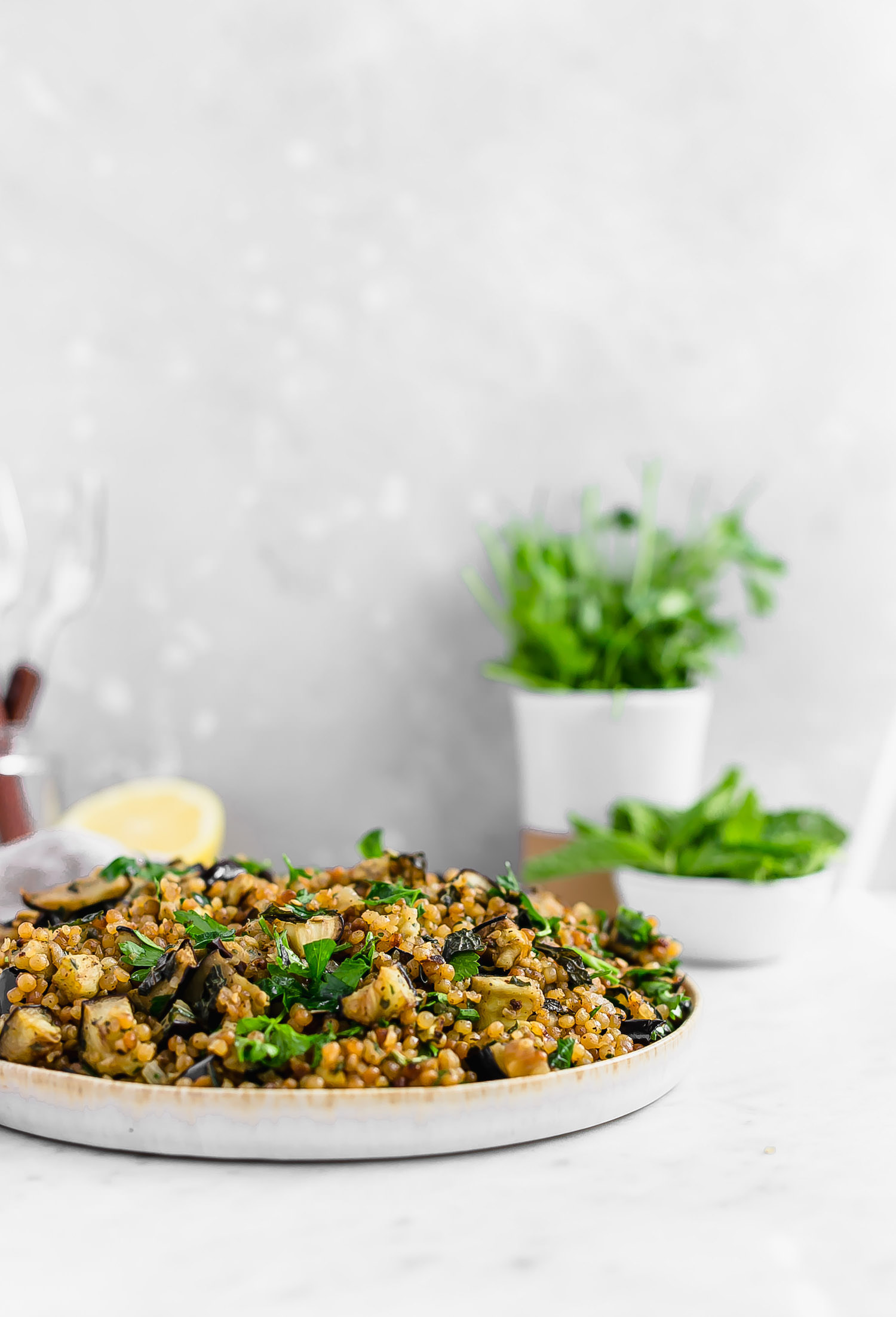 Herby Eggplant Israeli Couscous: toasted pearl couscous tossed with caramelized onions, roasted eggplant, and fresh parsley and mint. So good! | TrufflesandTrends.com