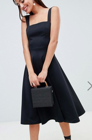 ASOS DESIGN square neck midi prom dress