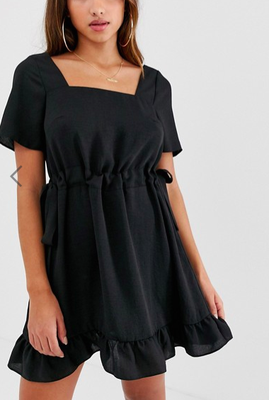 ASOS DESIGN square neck mini dress with ruched waist