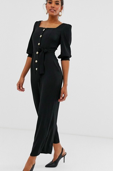 ASOS DESIGN square neck puff sleeve jumpsuit with button detail