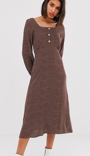 Mango polka dot square neck midi dress in brown