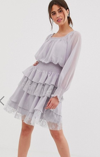 True Decadence premium square neck dress with ruffle and lace tiered skirt in lilac gray