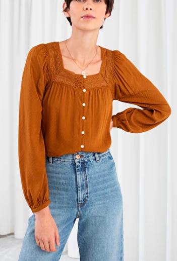 Stories Cropped Lace Trim Peasant Blouse