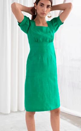 Stories Linen Blend Puff Sleeve Dress