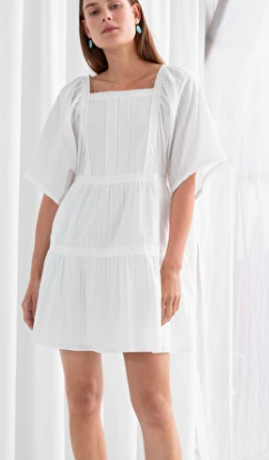 Stories Tiered Ruffled Cotton Mini Dress