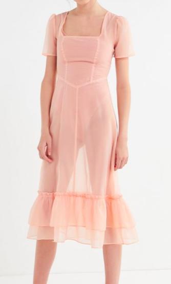 UO Sheer Square Neck Midi Dress
