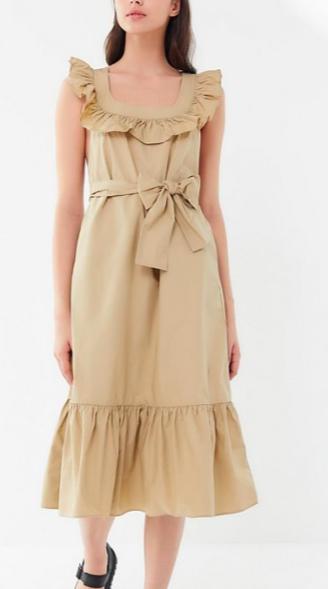 UO Ruffle Poplin Midi Dress