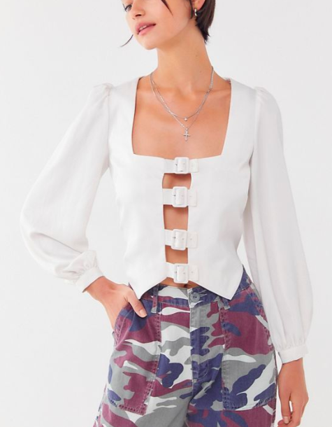 The East Order Fable Buckle-Front Blouse