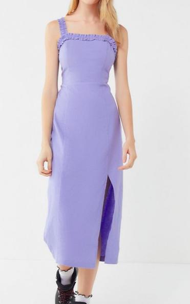 UO Remy Linen Ruffle Square Neck Midi Dress