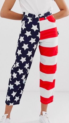 ASOS DESIGN Carpenter boyfriend jeans with American flag print