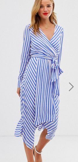 Glamorous wrap front dress with tie waist in diagonal stripe