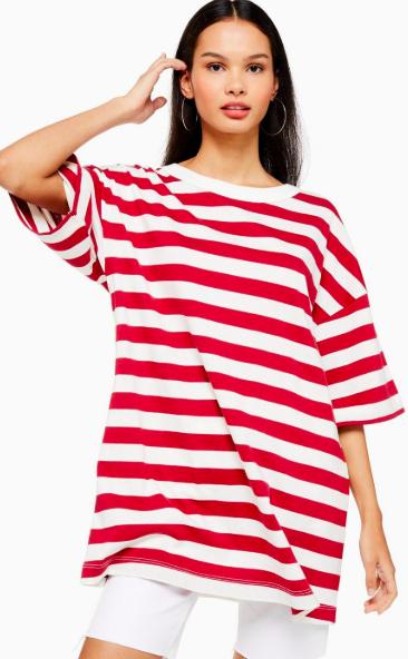 Topshop Stripe Boyfriend T-Shirt