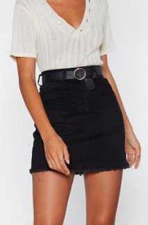 Nasty Gal Be With You in a Mini Denim Skirt