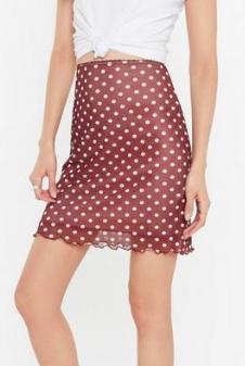 Nasty Gal Polka Dot Lettuce Hem Mesh Mini Skirt
