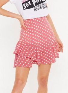 Nasty Gal Abstract Spot Ruffles Hem Skirt