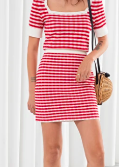 Stories Striped Cotton Blend Mini Skirt