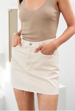 Stories Raw Edge Denim Mini Skirt
