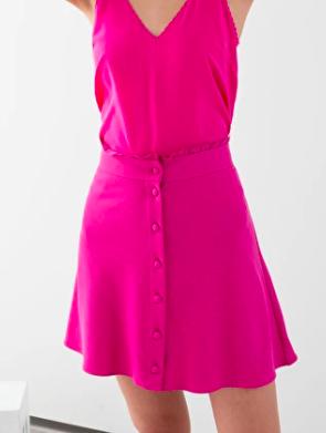 Stories Ruffle Waist Cotton Flared Skirt