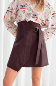 Stories Belted Leather Mini Skirt