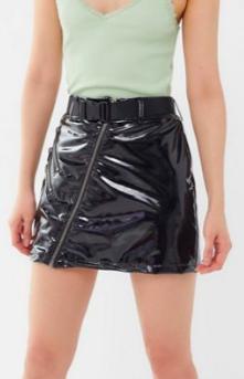 Nana Judy Dazed Patent Zip-Front Mini Skirt