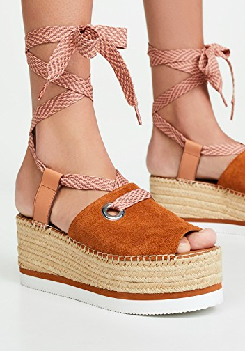 Glyn Amber Platform Ankle Wrap Sandal SEE BY CHLOÉ