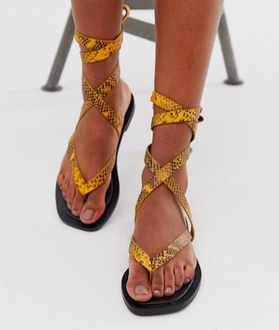 ASOS DESIGN Fluxe premium leather flip flops