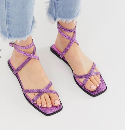 ASOS DESIGN Foresight strappy sandals in snake
