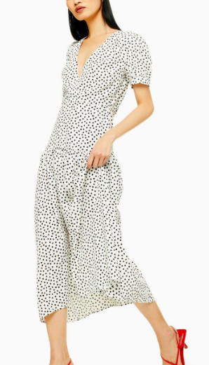 Topshop Black And White Starlight Spot Smock Dress