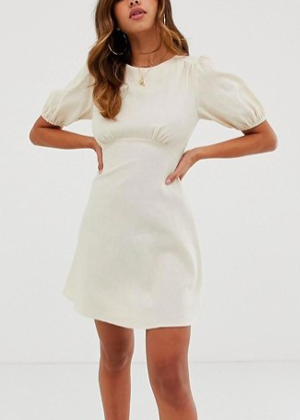 ASOS DESIGN linen mini dress with puff sleeves