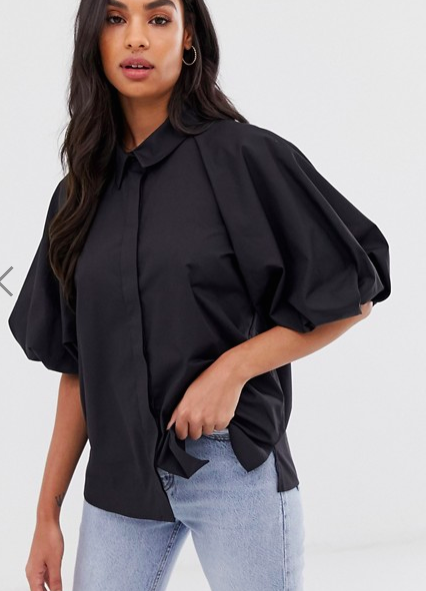 ASOS DESIGN shirt with short puff sleeve detail