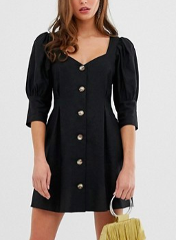 ASOS DESIGN button through mini skater dress with puff sleeve