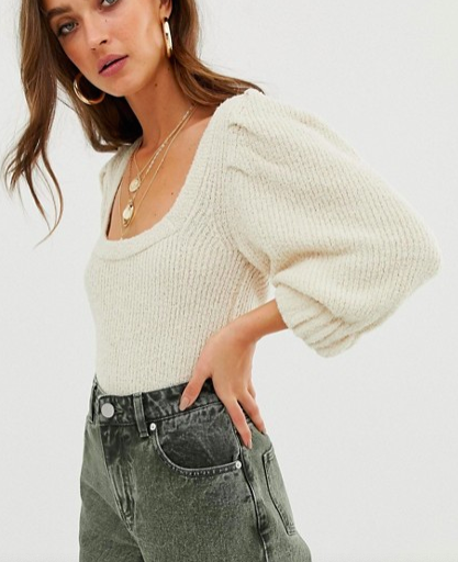 ASOS DESIGN premium puff sleeve knitted tee