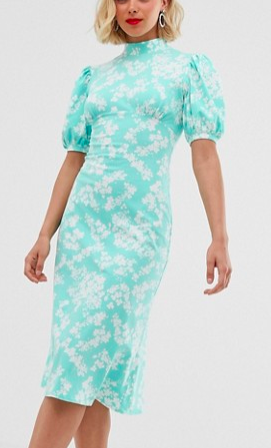 ASOS DESIGN ditsy print midi tea dress with puff sleeves