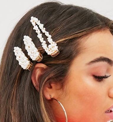 ASOS DESIGN pack of 3 hair clips with pearl embellishment in gold tone