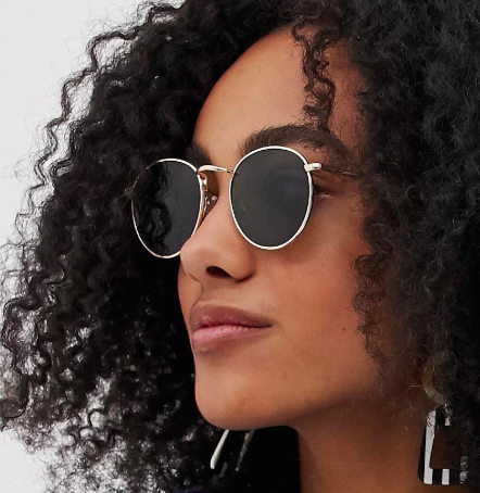 ASOS DESIGN 90s metal round sunglasses in gold with g15 lens