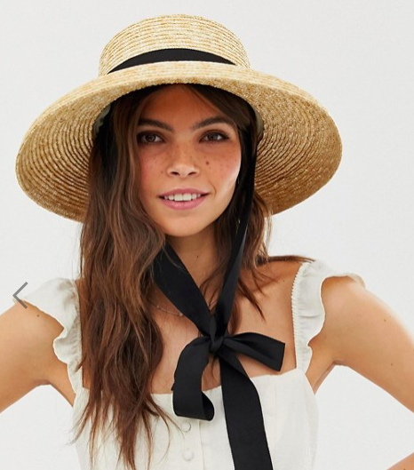 ASOS DESIGN turned edge natural straw hat with changeable ties