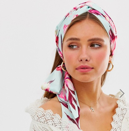 ASOS DESIGN twist front headscarf in tropical floral