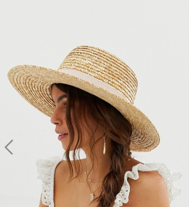 ASOS DESIGN natural straw easy boater with size adjuster and light band