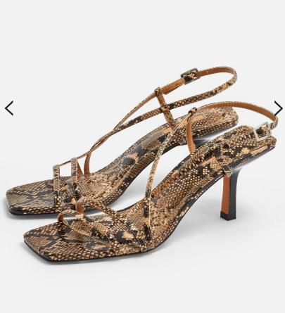 Topshop STRIPPY Snake Heeled Sandals
