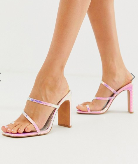 ASOS DESIGN Heckle toe loop barely there block heeled sandals in iridescent croc