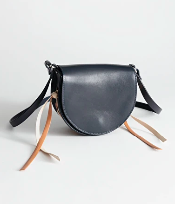 Stories Structured Laced Leather Saddle Bag
