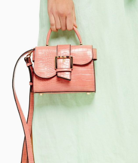 Topshop MINNY Nude Buckle Mini Bag