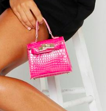 Boohoo Patent Croc Micro Mini Grab Bag