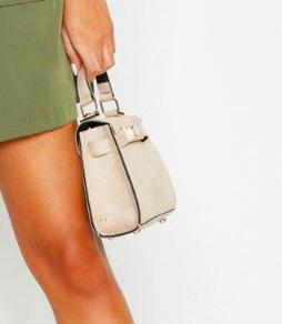 Boohoo Suedette Mini Lock Grab Bag