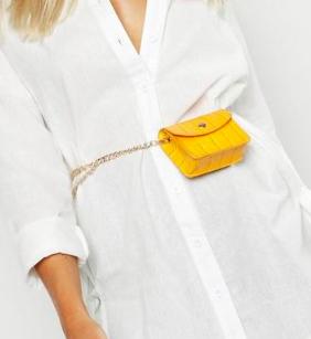 Boohoo Mini Croc Chain Belt Bag
