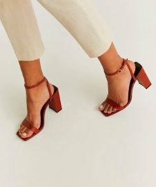 Mango Leather ankle-cuff sandals