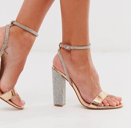 ASOS DESIGN Hot Step embellished block heeled sandals is rose gold