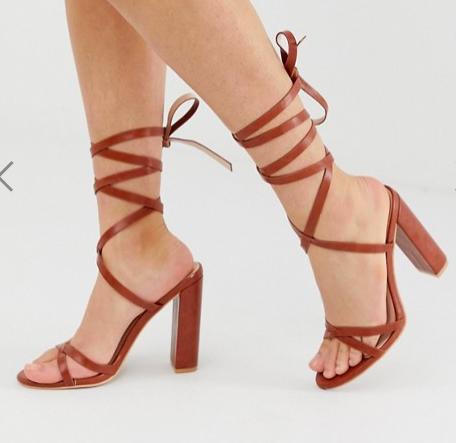 Simmi London Heidi tan ankle tie block heeled sandals